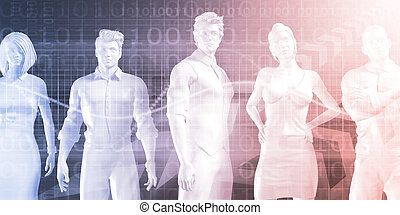 Confident Successful Business Team Standing on Technology...