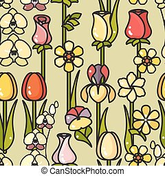 Vector seamless pattern of hand drawn line art flower. -...