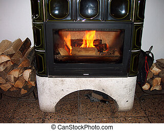 Fire place      - Fireplace with burning logs