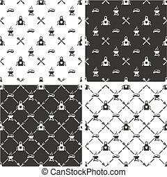 Barbecue Seamless Pattern Set - This image is a illustration...