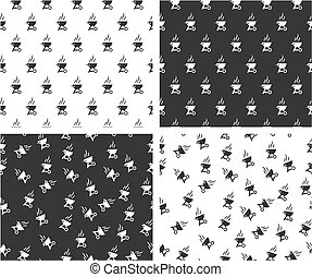 Barbecue Grill Aligned & Random Seamless Pattern Set - This...