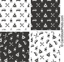 Barbecue Aligned & Random Seamless Pattern Set - This image...