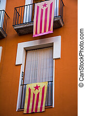 Catalan independentist flags hanging from balconies