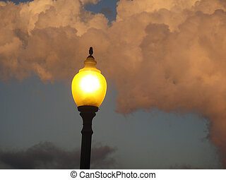 Light Post at Sunset in Iowa.