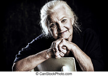 beautiful old age - Portrait of a beautiful smiling senior...