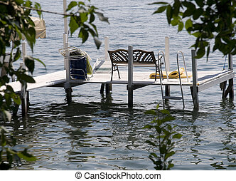 Dock on Okoboji Lake in Iowa in the Summer.