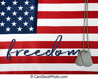 word freedom with dog tags - word freedom with military dog...