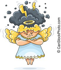 Angry furious guardian angel with wings - Cartoon angry...