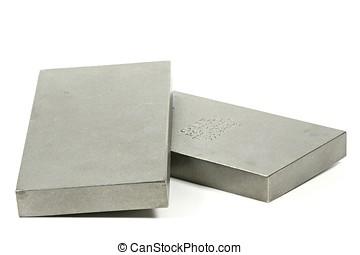 titanium ingots isolated on white background