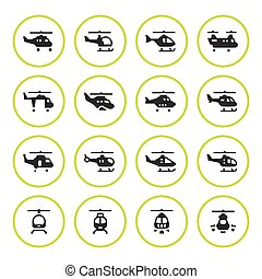 Set round icons of helicopters