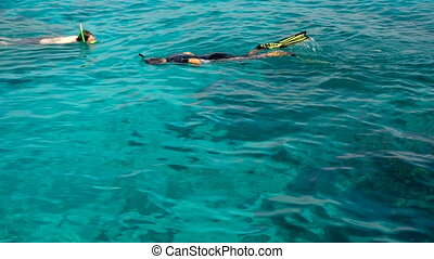 Snorkelling in the clear turquoise water - Young men...