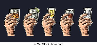 Male hand holding glasses with tequila, vodka, rum, gin,...