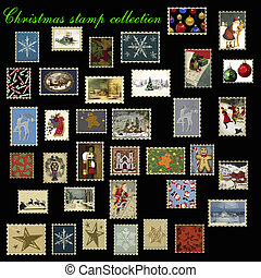 christmas stamp collection vector - christmas stamps