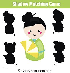 Shadow matching game. Educational children game with...