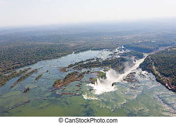 Iguazu falls helicopter view, Argentina - Helicopter view...