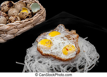cellophane with scrambled quail eggs with eggs in a basket...