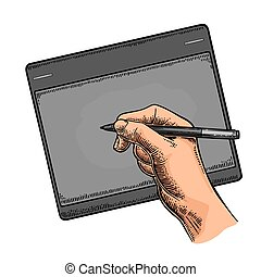 Hand writes on the tablet stylus. Vector black vintage engraving