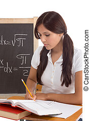 Latina High school or college female student sitting by the...