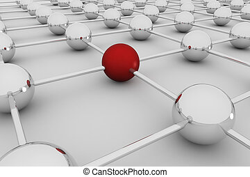 Network 3D - Abstract concept of social global network- 3D...