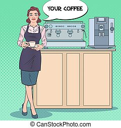 Pretty Female Barista with Cup of Coffee in Cafe. Pop Art retro vector illustration
