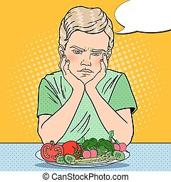 Upset Boy with Plate of Fresh Vegetables. Healthy Eating. Pop Art retro vector illustration