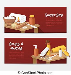Barber Shop Horizontal Banners with Mens Fashion Tools. Hair Style Salon. Vector illustration