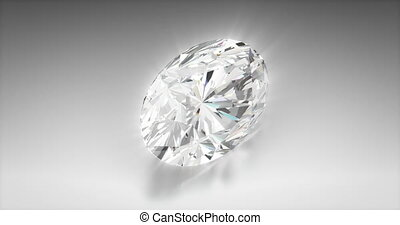 Oval Cut Diamond - Oval cut diamond on gray background...