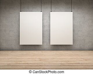 Two exhibitor - White empty exhibitor board hang in a room...