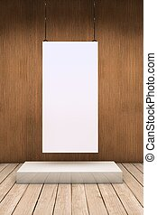 One white exhibitor - White empty exhibitor board hang in a...