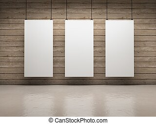 White boards - White empty exhibitor board hang in a room...