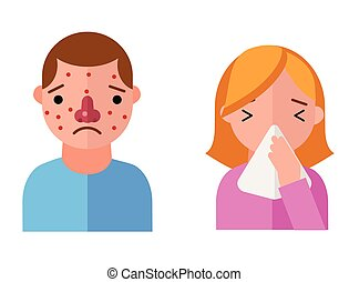 Allergy symbols disease healthcare characters viruses and...