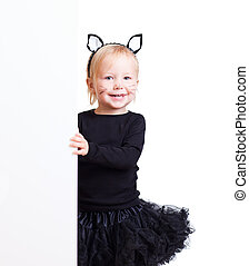 Girl in black cat costume with banner - Cute little toddler...
