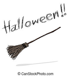 witch broom - hand-drawn halloween theme message - 7 of...