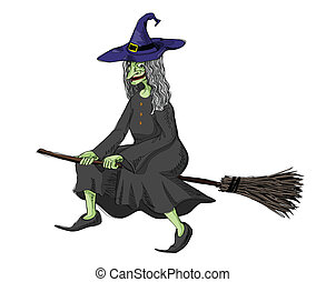 witch - illustration of witch, riding on a broomstick