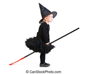 Little witch on broomstick - Adorable little witch on...