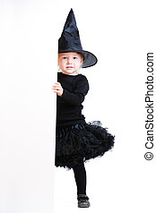 Little witch with banner - Playful little girl dresses for...