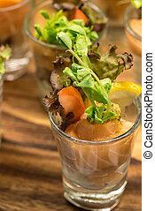 Salmon Coctail - Salmon rolls as tapas cocktail