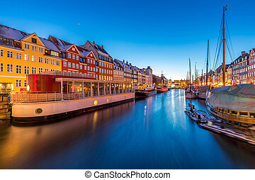 Copenhagen Nyhavn Sunset - Copenhagen Nyhavn, New port of...