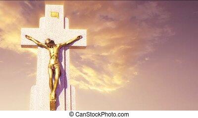 Jesus cross against sky