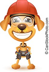 Labor day. Yellow dog builder in protective helmet