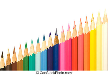 Pencils and diagonal. - Rich color palette (from dark to...