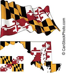 Waving State Flag of Maryland Flag