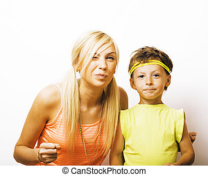 funny mother and son with bubble gum having fun happy family