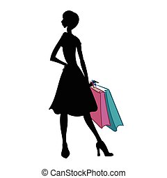 Silhouette of woman with different colored shopping bags. Vector illustration