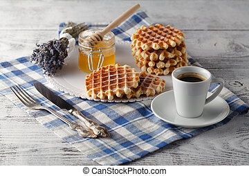 Breakfast with Viennese wafers for her