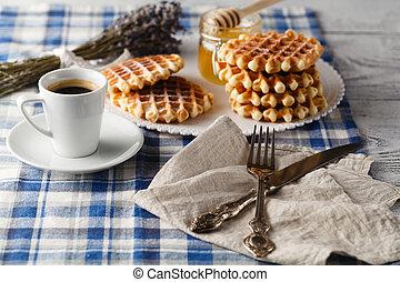 Homemade Viennese wafers - Homemade Viennese wafe with honey...