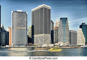 Lower Manhattan. - HDR view of Lower Manhattan at sunny day.