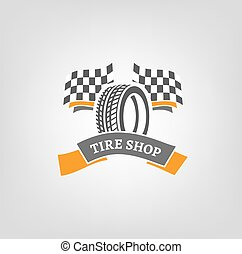 Tire Shop Logo - Car tire icon with finish flags in grey and...