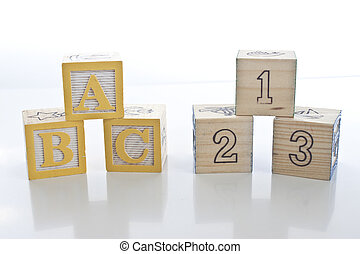 Wooden Education Blocks - ABC - 123