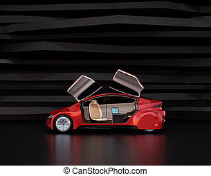 Side view of metallic red self-driving car